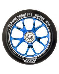 Slamm V-ten 110mm Aluminium Stuntstep Wiel in Zwart met Blauwe Kern