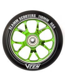Slamm V-ten 110mm Aluminium Stuntstep Wiel in Zwart met Groene Kern