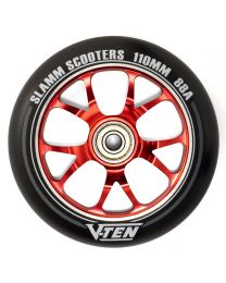 Slamm V-ten 110mm Aluminium Stuntstep Wiel in Zwart met Rode Kern